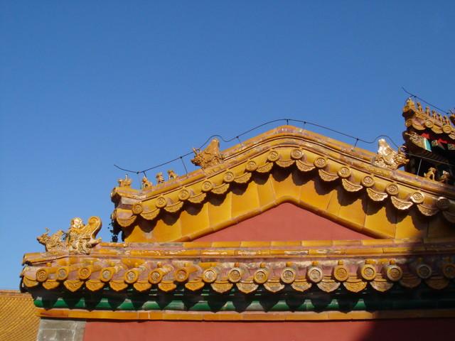 Peking Verbotene Stadt gelbe kaiserliche Dachziegel