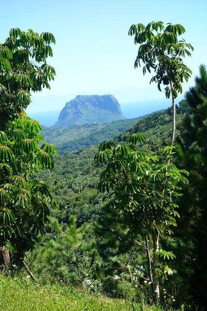 le Morne Brabant vom höchsten Berg in Mauritius gesehen