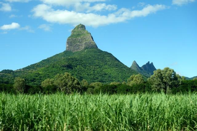 überall auf der Insel bizarre Berge hier bei Flic-n Flac