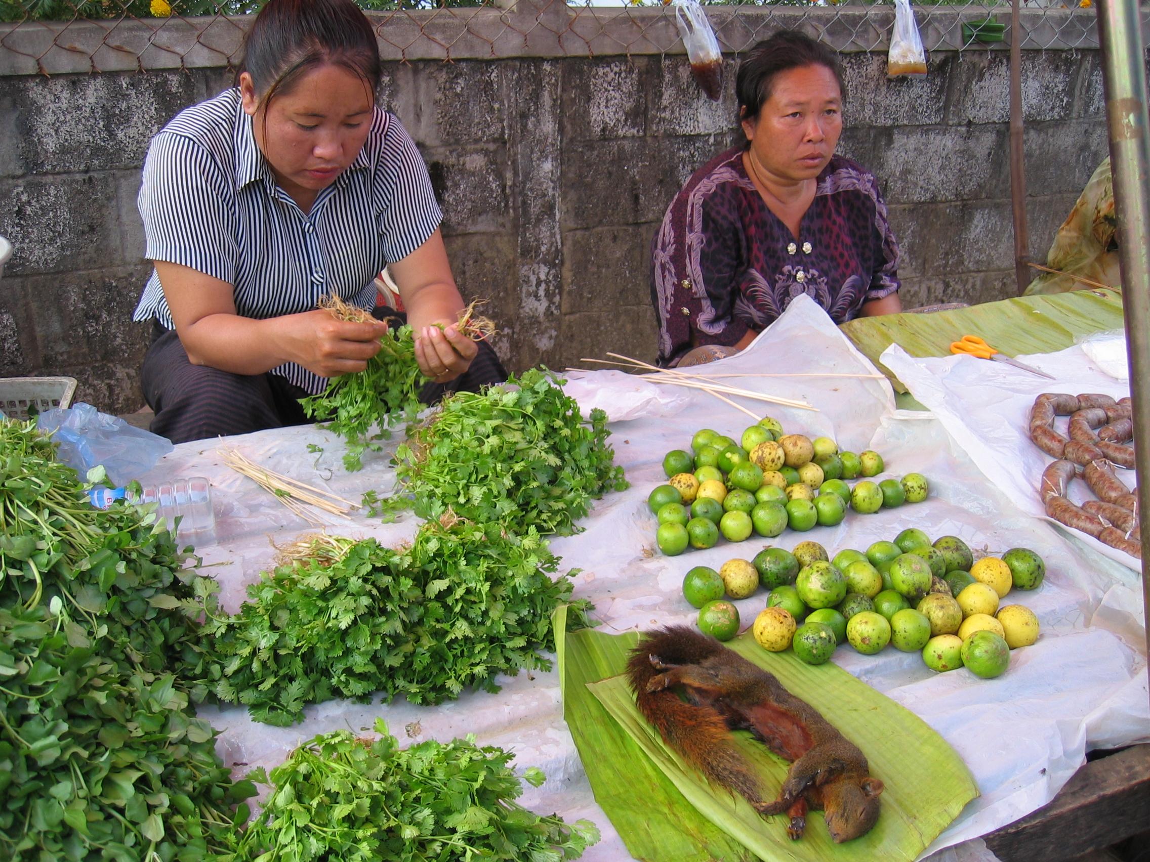 breites Angebot auf dem Markt in Vang Vieng